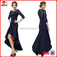Woman new fashion design long prom dress europe style, 3/4 lace sleeve and high-low hemline see-through free prom dresses
