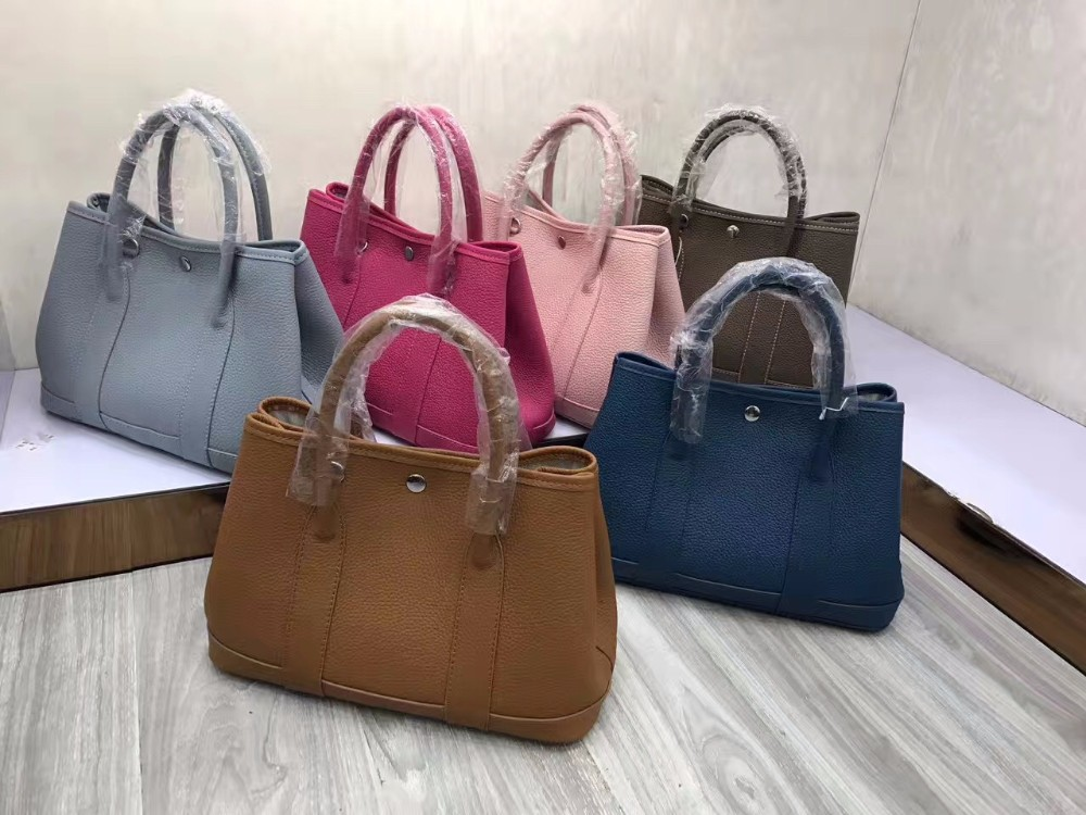 2018 SS Chinese factory garden party genuine Leather women tote handbag
