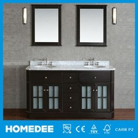 Commercial tall double bowl bathroom vanity cabinet with marble countertop