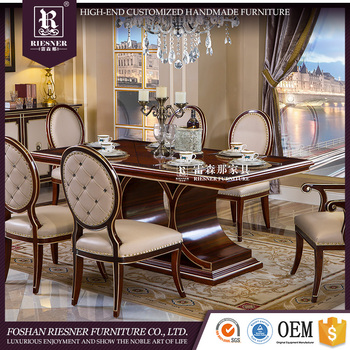 New classic luxury dining room set design wooden dining table and chairs