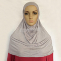 Muslim plain jersey cotton Pull On Amira Hijab two Piece Islamic Scarf QK042