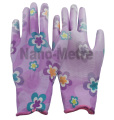 NMSAFETY EN388 13 gauge nylon or polyester liner coated flower print PU garden gloves