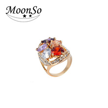 Wholesale!! New!! ladies finger gold ring design arabic gold wedding rings 18kgp rings KR613 MoonSo