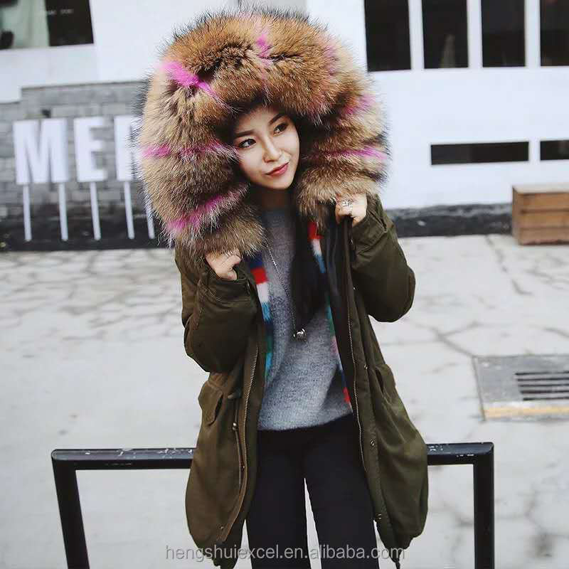 Latest design ladies real mink fur lining parka with large size raccoon fur hood