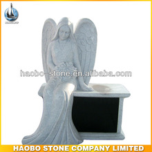Haobo Stone Granite Gray Sitting Angel With Black Bench
