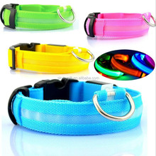 Nylon LED Pet Night Safety Flashing Glow In The Dark Leash Luminous Fluorescent LED Dog Collar