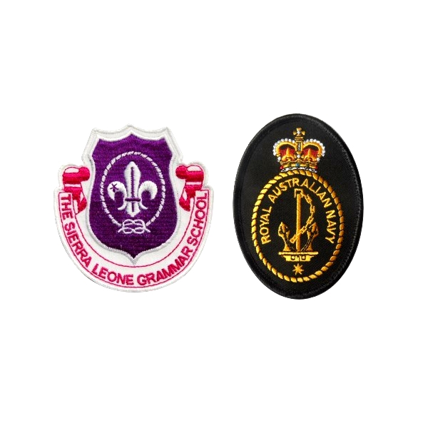 2017 custom high quality school uniform embroidery patch badges