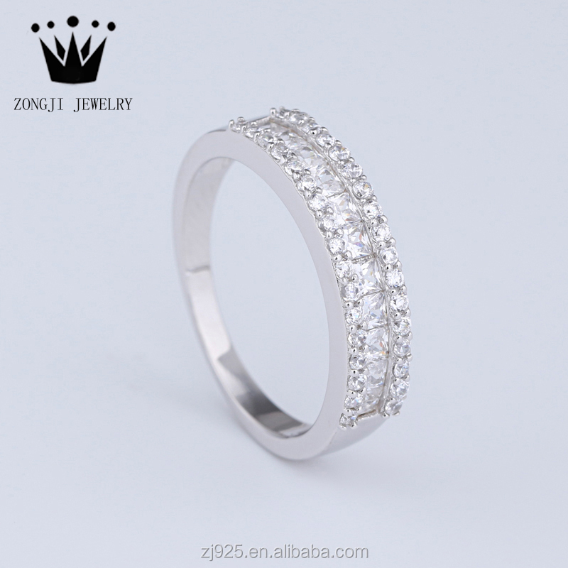 925 Sterling Silver Jewellery Simple Style Engagement Wedding Rings With <strong>Diamond</strong> For Ladies