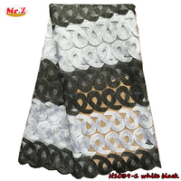 Black And White African Lace Africa Fabrics For Dress N1039