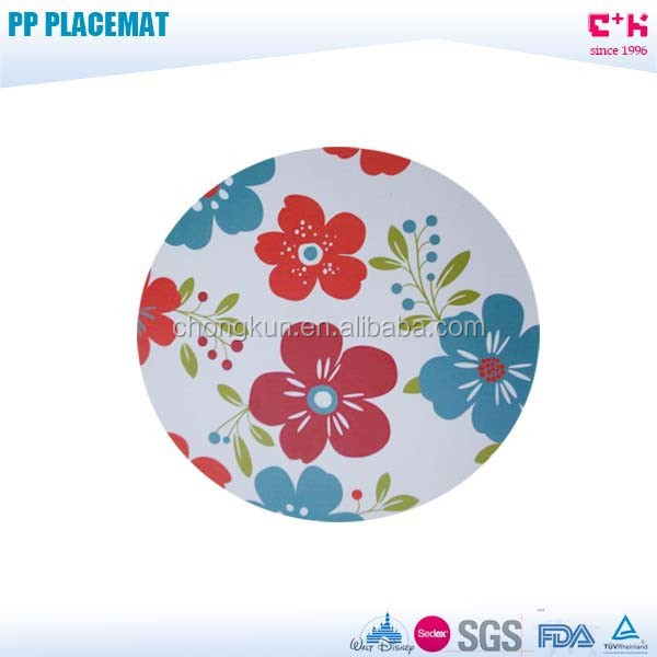 custom flower printed round plastic placemat for round table
