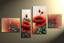 hotel flower wall art opening red peony flower oil painting