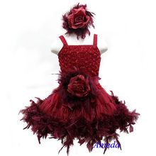 Ruby Red Rose Pettiskirt Wedding Party Flower Girl Feather PettiDress Matching Sash and Headband 1-7Y