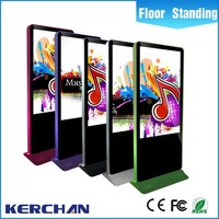 Indoor 46 inch floor standing ultra thin advertising led TV display with wheels