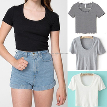 Women's Crop Top Ladies Stretch Vest Girls Sexy Short Sleeves t-shirt t Shirt