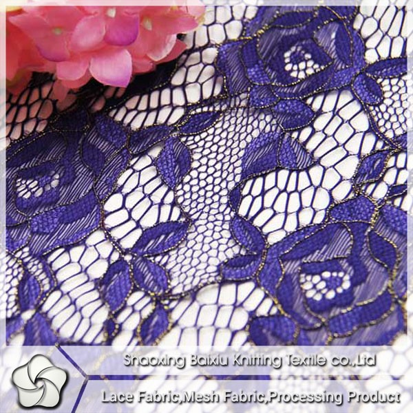 2015 china fashion top salable elastic nylon spandex gold thread rose flower purple lace fabric for tutu skirt