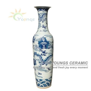 6 FEET Chinese Antique Hand Painted Large Dragon Floor Standing Vases For Sale