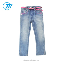 100% Cotton Kids Girls Jeans Denim Jeans For 2-14 Year