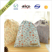 Lovely cute pattern canvas linen drawstring backpack bag