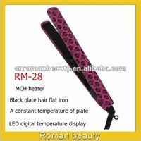 LED portable steam black plate hair flat irons
