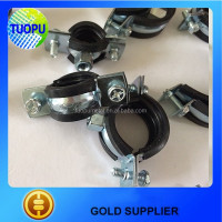 Metal split pipe clamp with rubber,two screw quick lock pipe clamp with plastic