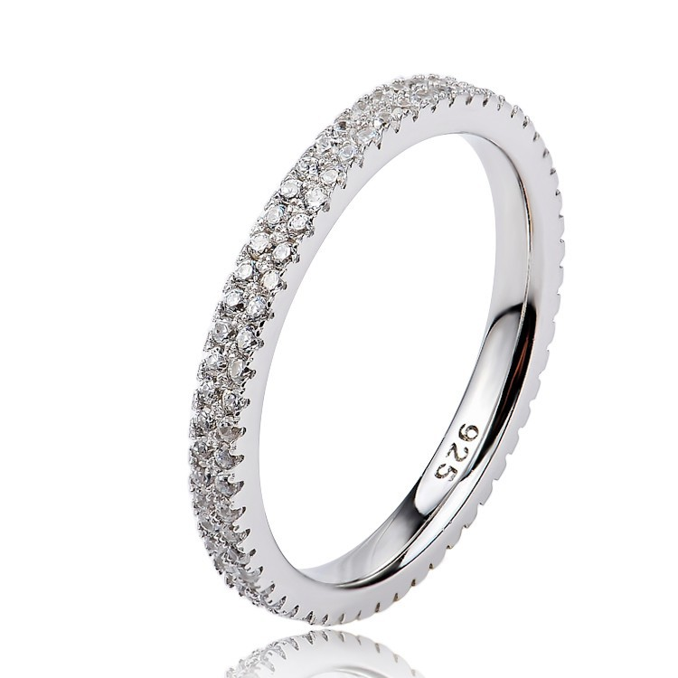 2 Row Eternity Band Ring 925 Silver Ring With Cubic Zirconia