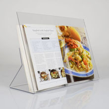 Slanted Acrylic book Stand Angled Clear Recipe Book Holder Slant Countertop cookbook holder