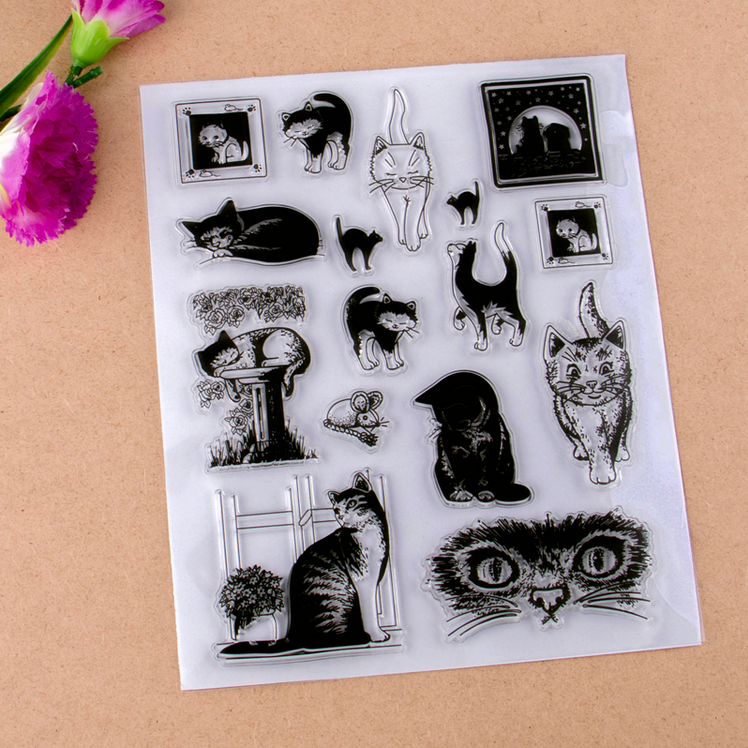 Animal cartons custom scrapbooking rubber silicone stamp