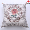 flower printed and embroidered beads cushion cover