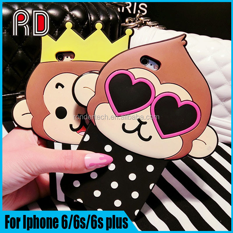 Fashion Lovely Heart Big Mouth Monkey Phone Cover Case for iphone 6/6s/6s+