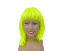 Mid size yellow straight wig Human hair wig Synthetic wigs