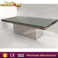 Gold Metal Glass Dining Table with Glass Living Room Furniture