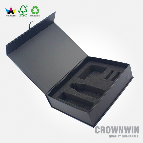 Black Magnetic Gift Box Cardboard With Foam Inside