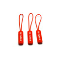 Fashion design TPU cord pulling slider printed logo red rubber zipper puller