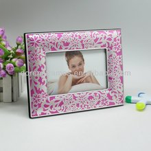 newest pink photo frame witt pattern for wedding photo frame