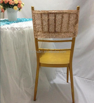 Wedding Rose Gold Sequin Chair Cover Sashes