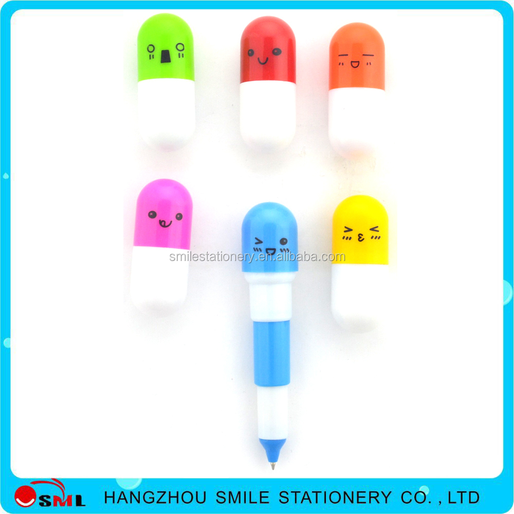 Cheap printed cute faces emotion pill pen/Lovely toy pen