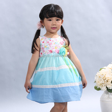 Hot sale 100%cotton kids clothes small blue dress fairy kid clothing for girl