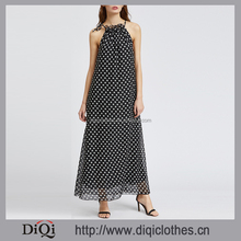 Newest designs garment Factory bulk wholesale stylish women Black Polka Dot Halter Sleeveless chiffon Maxi Dress