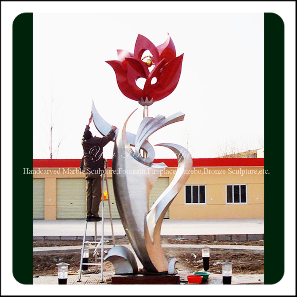 High Polished Beautiful Large Metal Stainless Steel Flower for Park Deco