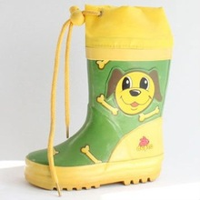 Lovely dog pattern rubber rain boots for kids