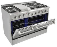 Stainless steel Freestanding six burner gas range with top grill and two oven