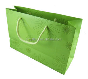 Custom lime green cotton handleshopping kraft paper tote bag, fancy paper gift bag, bulk buy