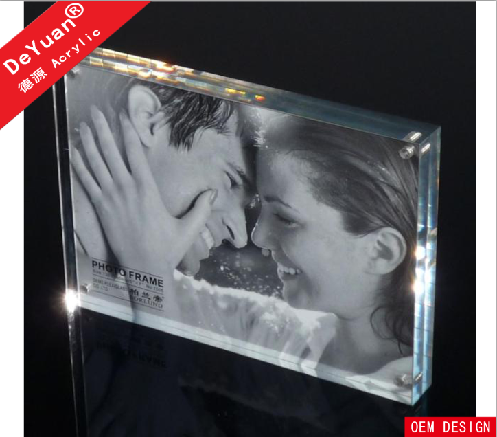 Clear acrylic display photo fram block with magnetic