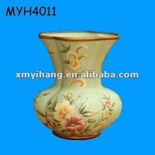 Decorative ceramic porcelain floral vase with gold trim