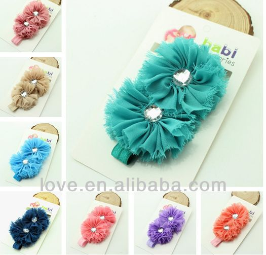 New Double Ballerina Flower Headband With Gem