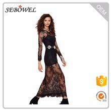 Hot design black Reverse Lace Long Sleeve maxi dress for lady whiteparty evening dress for women