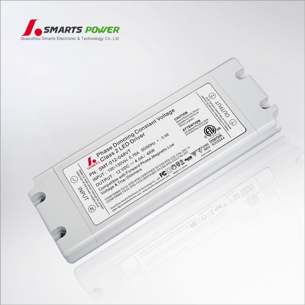 plastic indoor use led driver triac dimmable 12V 4A 48W for LED strip dim smooth ETL CE approved IP20 with termainals