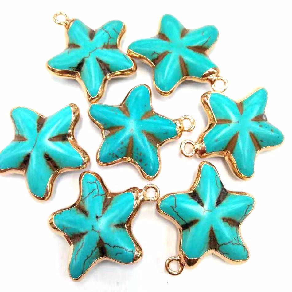 Hot Sale Sea Star Antique gold Plated bail blue Turquoise pendant for women jewelry