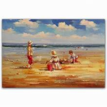 5 panel realist modern cartoon art kids on beach scenery oil painting picture