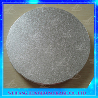 grease resistant silver foil paper wrapped round cardboard cake base